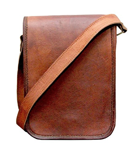 Full Flap Sling - TUZECH Vintage Full Flap Genuine Leather Crossover Messenger Leather Bag - Fits laptop Upto 13 Inches