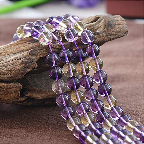 High Quality Cultured Ametrine Beads 6mm 8mm 10mm NOT Dyed Smooth Polished Round 15 Inch Strand AT12 (8mm)