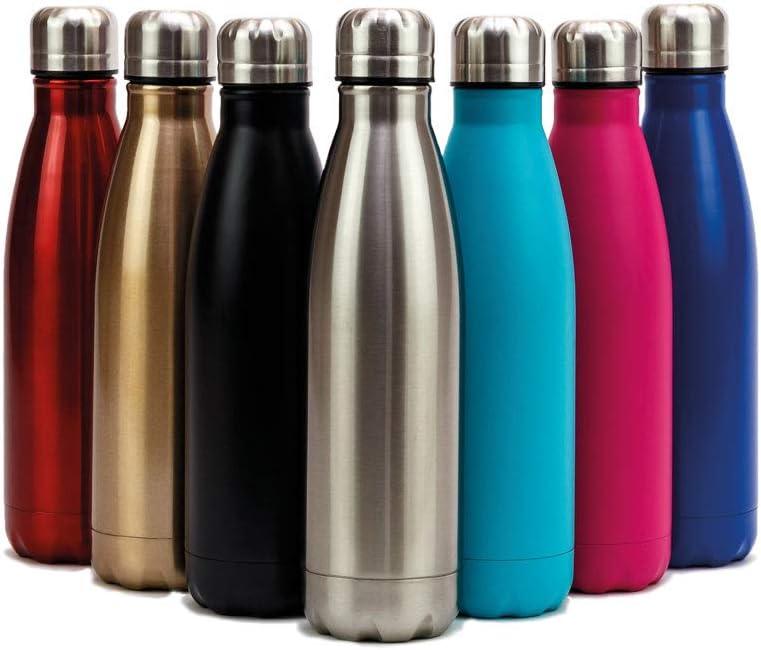 Schraubverschluss Edelstahl 0,5 Liter doppelwandig isoliert Isolierflasche aqua h/ält lange kalt und warm