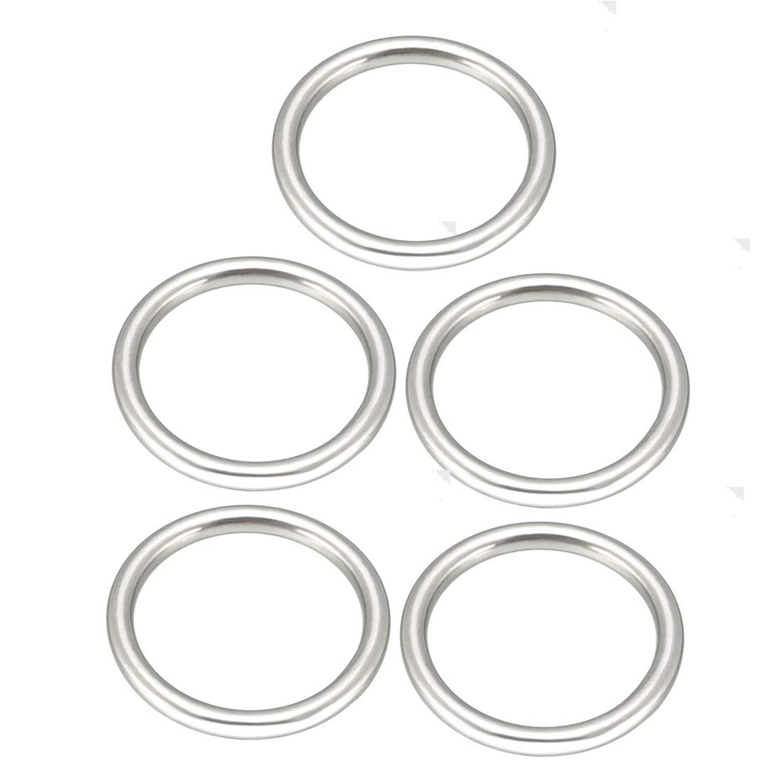 sourcing map 5 Pcs Multi-Purpose Metal O Ring Buckle Welded 38mm x 30mm x 4mm for Hardware Bags Ring Hand DIY Accessories