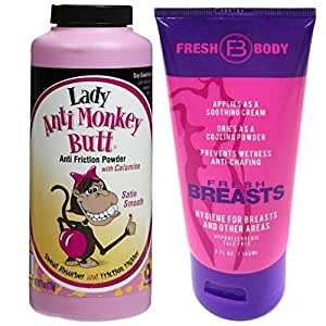 NO SWEAT BUNDLE! Lady Anti-Monkey Butt Powder (6oz) AND Fresh Breasts Lotion, The Solution for Women (5 OZ tube)