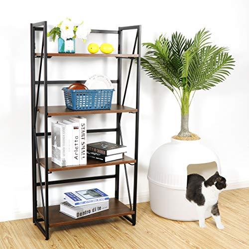 ZENY Ladder Shelf, 4-Tier Folding-Bookshelf, Storage Rack Shelves, Bathroom, Living Room, Wood Look Accent Furniture, Metal Frame