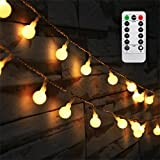 #9: [Updated Version] Bedroom Wedding 16 Feet 50leds LED Globe String Lights Battery Powered with Remote Timer Outdoor/Indoor Ambient Lighting for Garden, Party, Patio, Living Room (Warm White, Dimmable)