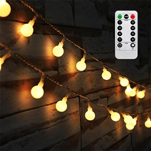 [Updated Version] Bedroom Wedding 16 Feet 50leds LED Globe String Lights Battery Powered with Remote Timer Outdoor/Indoor Ambient Lighting for Garden, Party, Patio, Living Room (Warm White, Dimmable) (Lights String Bedroom)