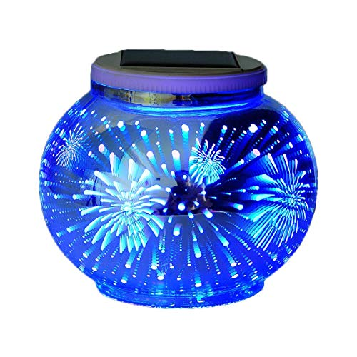 - Color Changing Solar Powered Glass Ball Led Garden Lights, Rechargeable Solar Table Lights, Outdoor Waterproof Solar Night Lights Bright Lawn Lamps for Decorations, Ideal Gifts (Fire)