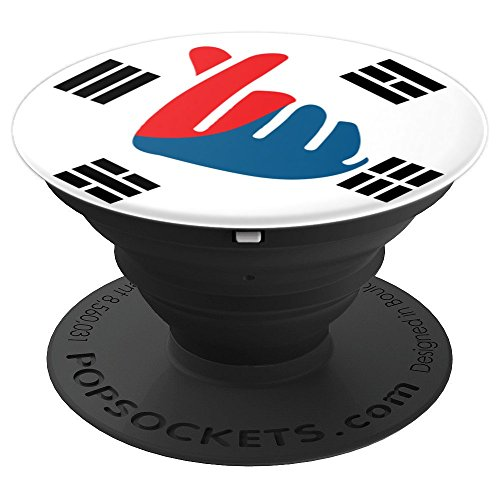 Saranghae K-Pop Finger Snap Heart Korean Love - Korean Flag - PopSockets Grip and Stand for Phones and Tablets