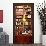 "AmazingWall 77x200CM/30.3x78.7"" 3D Bookcase Wooden Doors Refurbish Self Adhesive Decorative Waterproof Wall Stickers 1PCS/SET"