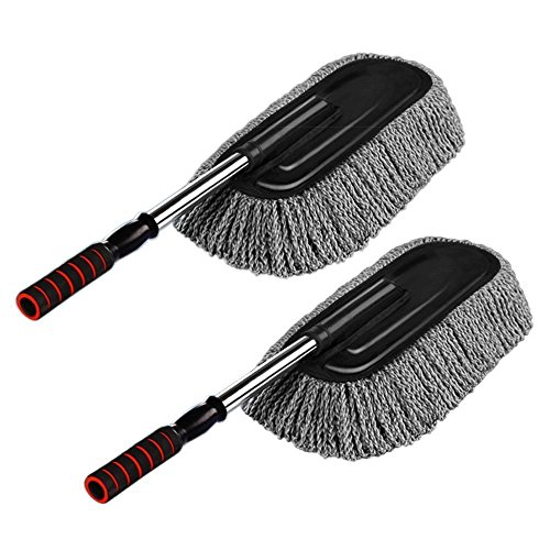 2pcs Car Cleaning Supplies Microfiber Duster Interior Cleaner Exterior size 15.7 inch with Long Retractable Handle to Trap Dust and Pollen for Car Bike RV Boats or Home use - Grey
