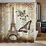 Eiffel Tower Shower Curtain Uphome 72 X 72 Inch Retro Vintage Paris Eiffel Tower Waterproof Kids Bathroom Shower Curtain - Butterfly and Flower Pale Brown Polyester Fabric Bathroom Accessories Home Decoration