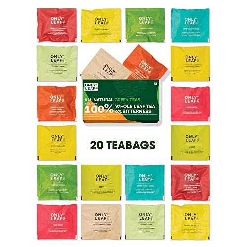 Onlyleaf 100% Natural Immunity Boosting Green Tea Sampler Tea Gift, 20 Pyramid Tea Bags of 10 Different Exotic Flavors