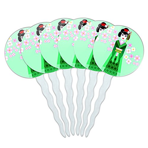 Set of 6 Cupcake Picks Toppers Decoration Flowers - Geisha with Flowers