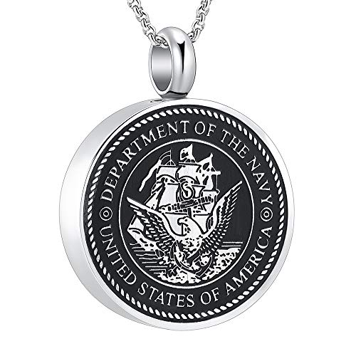 Hearbeingt USA Navy Memorial Necklace Anniversary Keepsake Cremation Ashes Urn Pendant Necklace (Navy)
