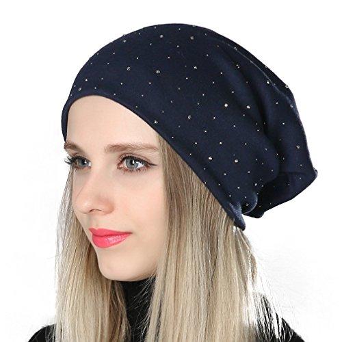 Diamond Knit Hat (GEEBRO Spring Hat Women Shine Diamond Knit Cap Hat Female Skull Beanie)
