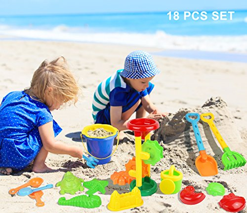 Click N Play 18 Piece Beach sand Toy Set, Bucket, Shovels, Rakes, Sand Wheel, Watering Can, Molds, (Sand Toys)