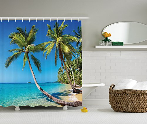 er Curtain Ocean Decor by, Kood Island and Journey Destination in Asia Ocean Beach Trees Landscape Print, Polyester Fabric Bathroom Shower Curtain, Ivory Blue Green Turquoise ()