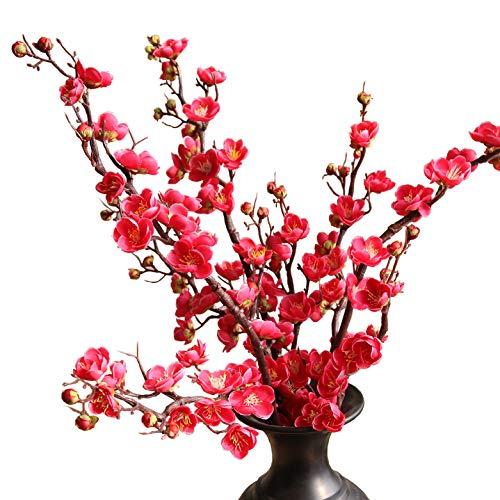 - cn-Knight Artificial Flower 3pcs 37'' Super Long Stem Silk Plum Blossom Faux Japanese Apricot Fake Chinese Plum Flower for Home Décor Housewarming Centerpiece Reception Hotel Restaurant(Rose red)