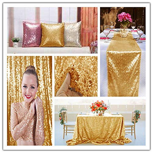 Gold Sequin Fabric 30FT 10 Yards Baby Shower Decorations in Shiny Gold Sparkly Fabric for Sewing ~0818S by ShiDianYi (Image #3)