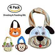 Baby Bibs Set of 4 Animals. The Best Baby Gifts! These are CUTE Drooling, Teething & Feeding bibs - Durable & Suitable for Babies to Toddlers. Premium Quality Terry, 3 Layers. Funny Baby Bibs for Boys