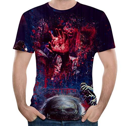 AHAYAKU 2019 New Halloween Tops for Men Horror 3D Print O-Neck Short Sleeve T Shirt Tops Blouses