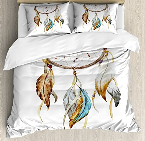 Feather Duvet Cover Set King Size by Ambesonne, Native American Watercolor Style Ornament Dream Catcher Ethnic Tribal Elements, Decorative 3 Piece Bedding Set with 2 Pillow Shams, Brown Blue Grey