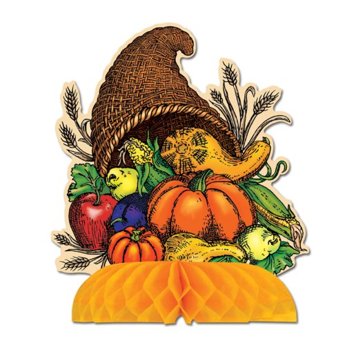 Beistle 1-Pack Decorative Cornucopia Centerpiece, 9-Inch