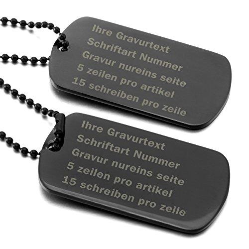 MeMeDIY Schwarz Edelstahl Anhänger Halskette Doppel Dog Tag 23 Zoll Kette ,mit Kette - Kundenspezifische Gravur