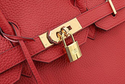 Leather Padlock European Handle Handbags Genuine Gshga Classic Top American Black And qAYxwI64