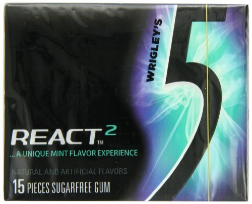 Wrigley's Gum 5, React 2 Mint, 15 Count Pack's (Pack of 10) by Five b y Wrigley Jr. (React Pack)