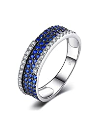 JewelryPalace 0.81ct Created Blue Spinel Cluster Cocktail Ring 925 Sterling Silver