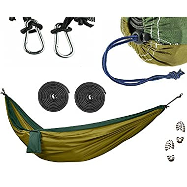 COMMANDO STEVE Camping Hammock Set - ULTRALIGHT Military Grade Canvas + 3x Extra Strength Reinforcement Agent, Extreme Heavy Duty