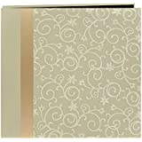 Pioneer 12-Inch by 12-Inch Scroll Embroidery Fabric Postbound Album with Ribbon, Ivory