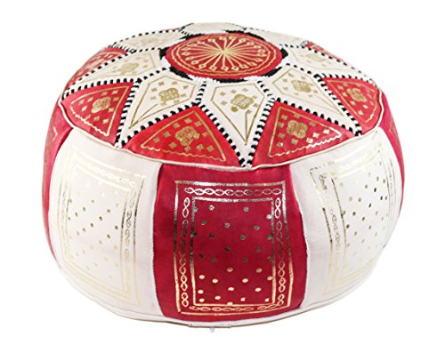 GRAN Red and Beige Handmade Leather Moroccan Pouf Footstool Ottoman | Genuine Leather with Hand Embroidered Stitching | Unstuffed (Antique Footstool)