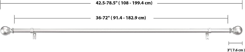 Bronze 91-182/cm Basics Gardinenstange mit rundem Endst/ück