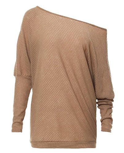 Maglione Felpa Maglietta Pullover Elegante Manica Pipistrello Tops Casuale Bluse Allentato Maglie JackenLOVE Jumper Donna Cachi a Lunga Spalline Senza EATWqwf7a
