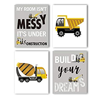 "Construction Trucks Picture Cartoon Construction Transport Vehicle Art Print Set of 4 (10""X8""Canvas Funny&Inspirational Words Poster Painting For Nursery or Kids Boy Room Home Decor,No Frame"