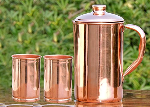 SKAVIJ Pure Copper Pitcher 2 Tumblers Set Luxury Style Water Jug for Ayurveda Health Benefits Capacity 54 oz TCJ3
