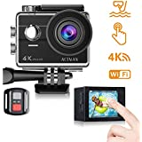 ACTMAN Action Camera 4K 16MP Touch Screen Underwater Waterproof Cam WiFi, Wrist Remote Control 2 Batteries, 23 Accessories Kit Compatible Go Pro