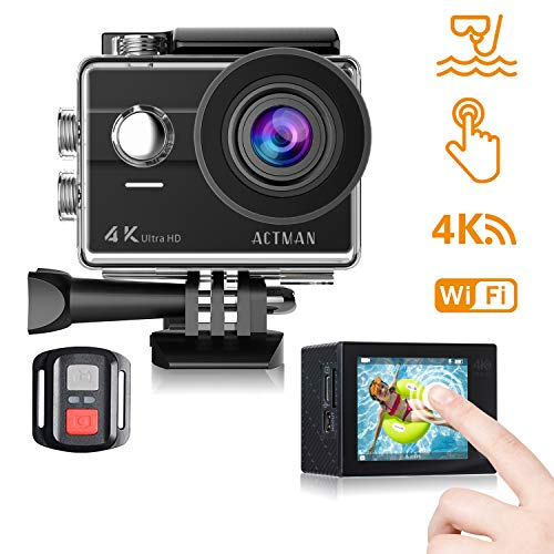 ACTMAN 4K Action Camera 16MP Underwater Waterproof Camera with Wi-Fi Remote Control, Touch Screen Sports Cam, 2...