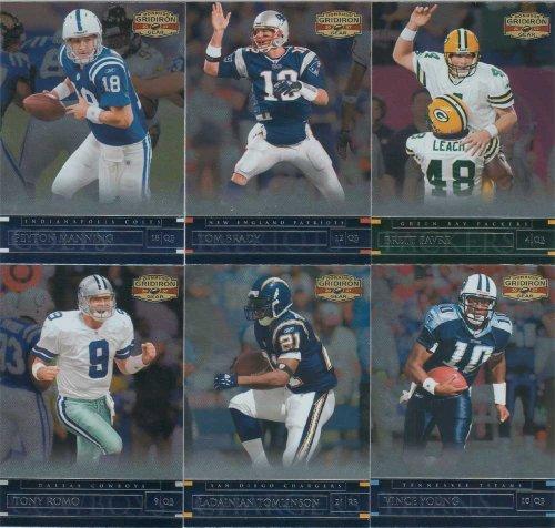 2007 Donruss Gridiron Gear NFL Football Series 100 Card Complete Mint Basic Set including Tom Brady, Brett Favre, Peyton Manning Plus