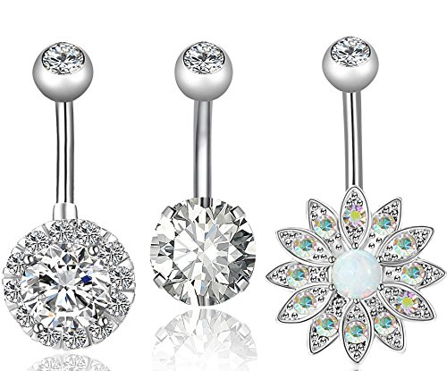 REVOLIA 2Pcs 14G Stainless Steel Belly Button Rings for Women CZ Flower Body Piercing Jewelry (C: 3Pcs Style A) - Belly Button Rings Wedding