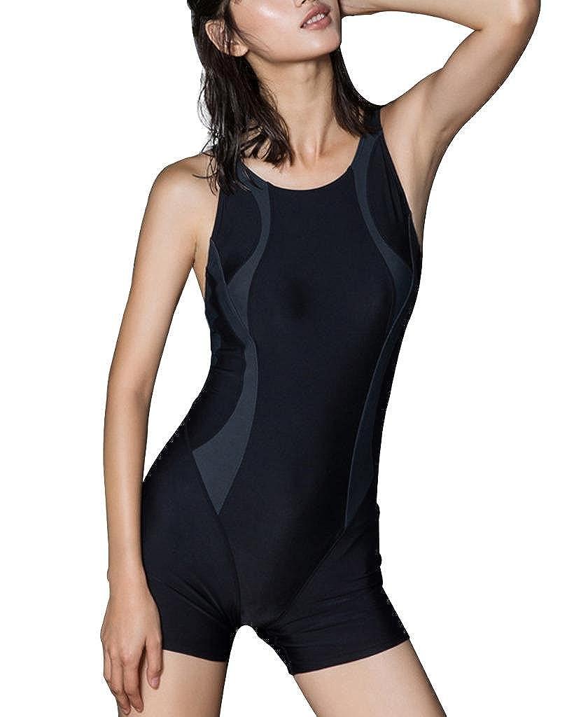Women One Piece Swimsuits Boyleg Sports Swimwear Racerback Athletic Surfing Suit