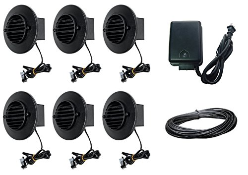 8 Piece Malibu Lighting Kit LED Deck Step Round Surface Lights Low Voltage with Black Finish + 45 watt Transformer + 50 ft landscape wire. BY MALIBU DISTRIBUTION by Malibu