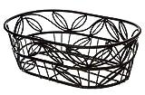 American Metalcraft (OLB9) 9'' Oval Wrought Iron Bread Basket w/Leaf Design