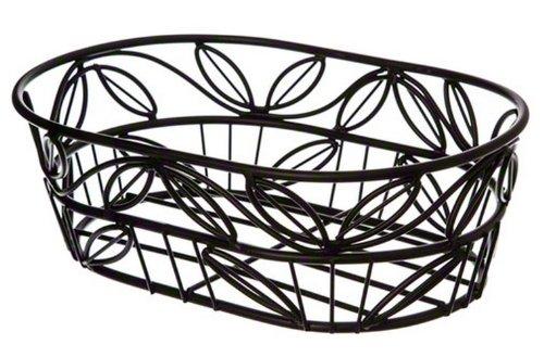 American Metalcraft (OLB9) 9'' Oval Wrought Iron Bread Basket w/Leaf Design by American Metalcraft
