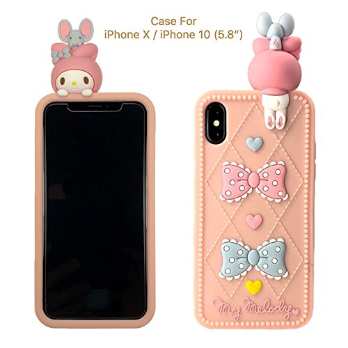 [CaserBay] iPhone X Case/ iPhone 10 Phone Case 3D Cute Rabbit, Bow Tie, Heart, Cartoon Kawaii Animal Series Soft Silicone Rubber Peach Pink Phone Cover (Rabbit & Bow-knot, For iPhone X 5.8