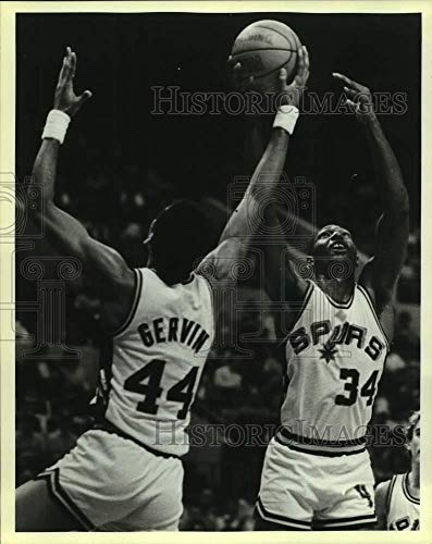 1984 Press Photo San Antonio Spurs basketball, George Gervin and Mike - George Gervin Spurs