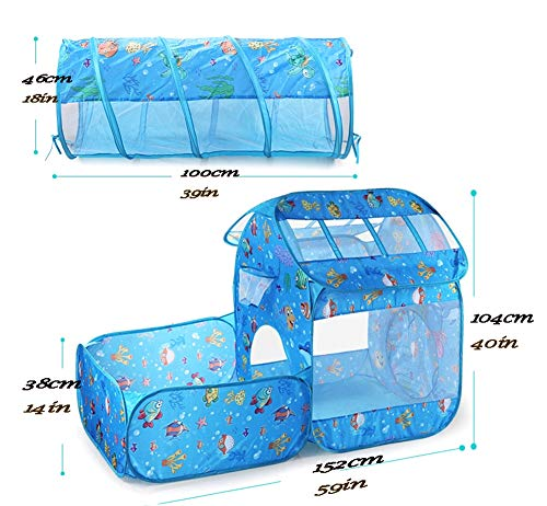 Amazon.com : XIAO&Z Childrens Play Tent Tunnel Playground 3-in-1 Pop-up Indoor Outdoor Game House Toy Hut Easy Fold Ocean Ball Pool with Basketball Hoop ...