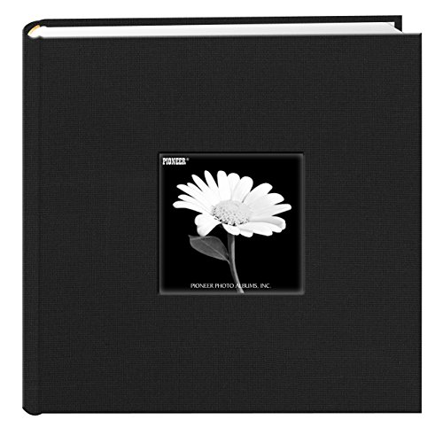 Acid Free Fabric (Fabric Frame Cover Photo Album 200 Pockets Hold 4x6 Photos, Deep Black)
