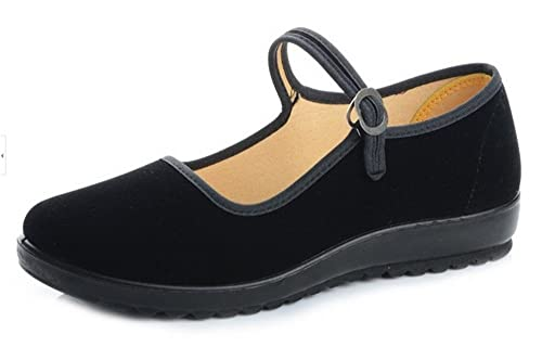 Black Cotton Mary Jane Dance Flat Old Beijing Cloth Walking Shoes for Women (4.5,