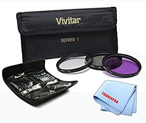 58mm Vivitar 3 Piece UV, CPL, FLD Filter Kit for Digital Cameras and Camcorders Nikon, Canon, Pentax, Panasonic, JVC, Samsung, Fujifilm, Sony, Olympus, & More + Tronixpro Microfiber Cloth